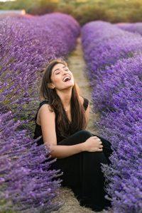 lavender field portrait smile woman