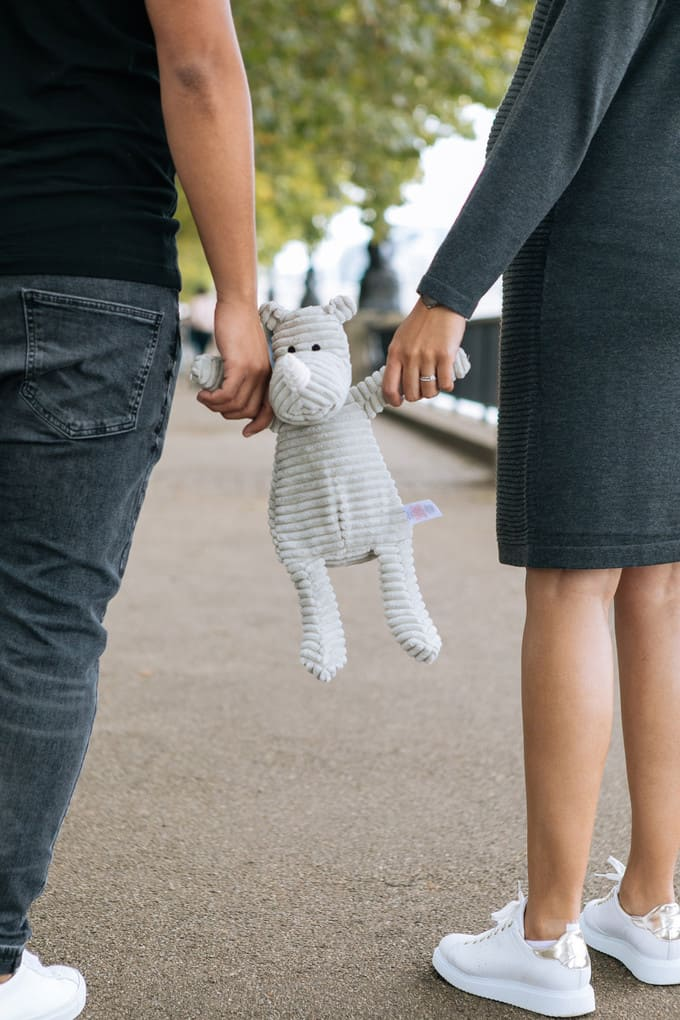 maternity couple teddy toy baby